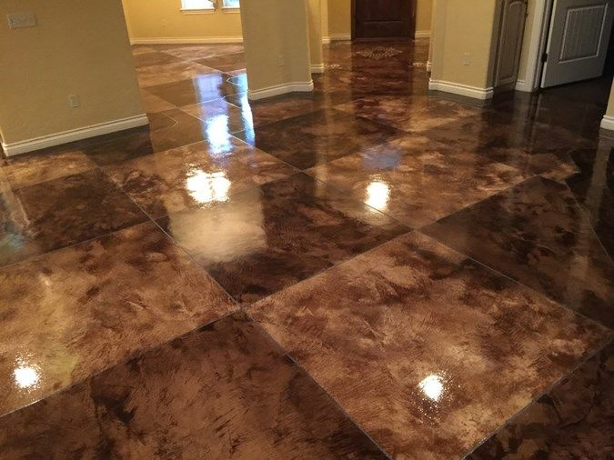 Acid stain tile pattern concrete floors owens concrete for How to care for stained concrete floors