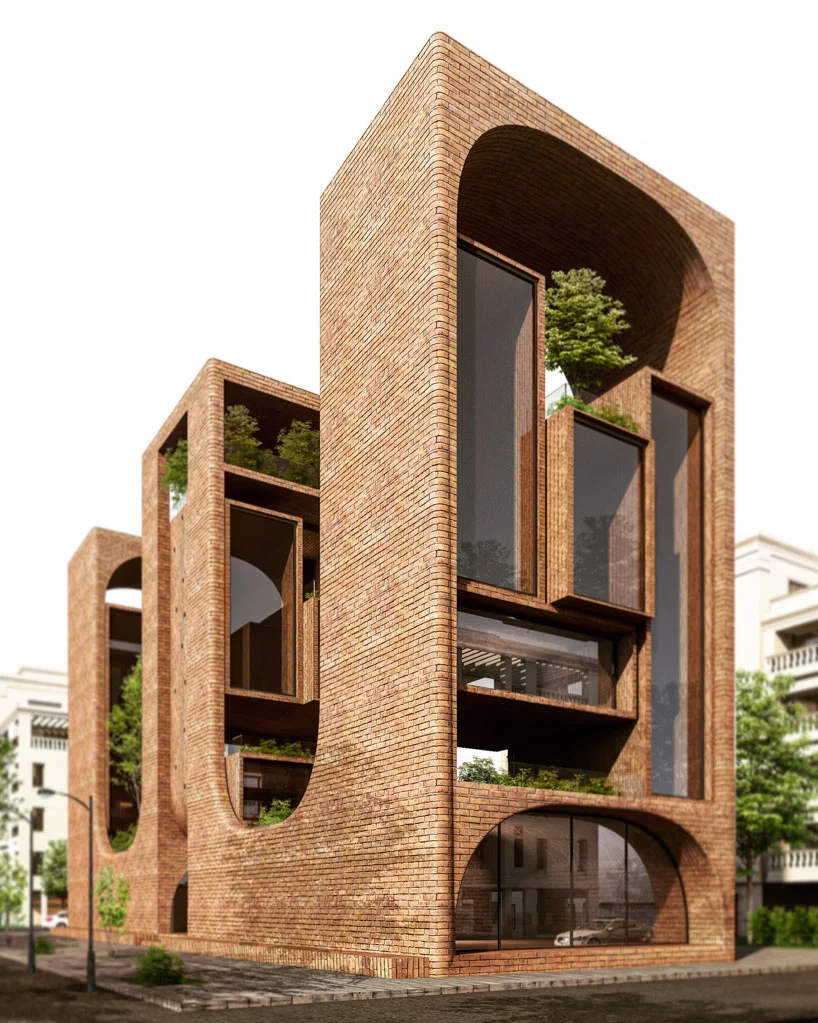 mohamad samiei redefines residential tower with sweeping brick envelope