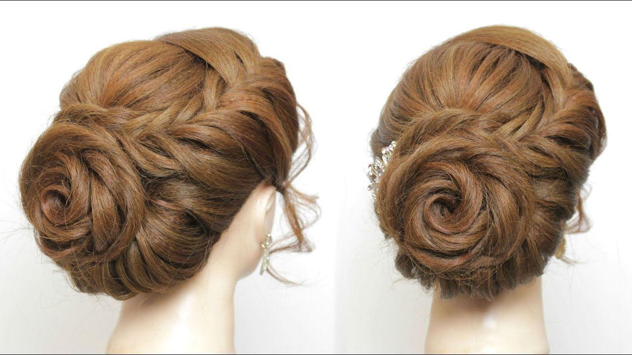 Rose Hairstyle For Long Hair Prom Wedding Braided Flower Updo Youtube Long Hair Styles Bun Hairstyles For Long Hair Hair Styles