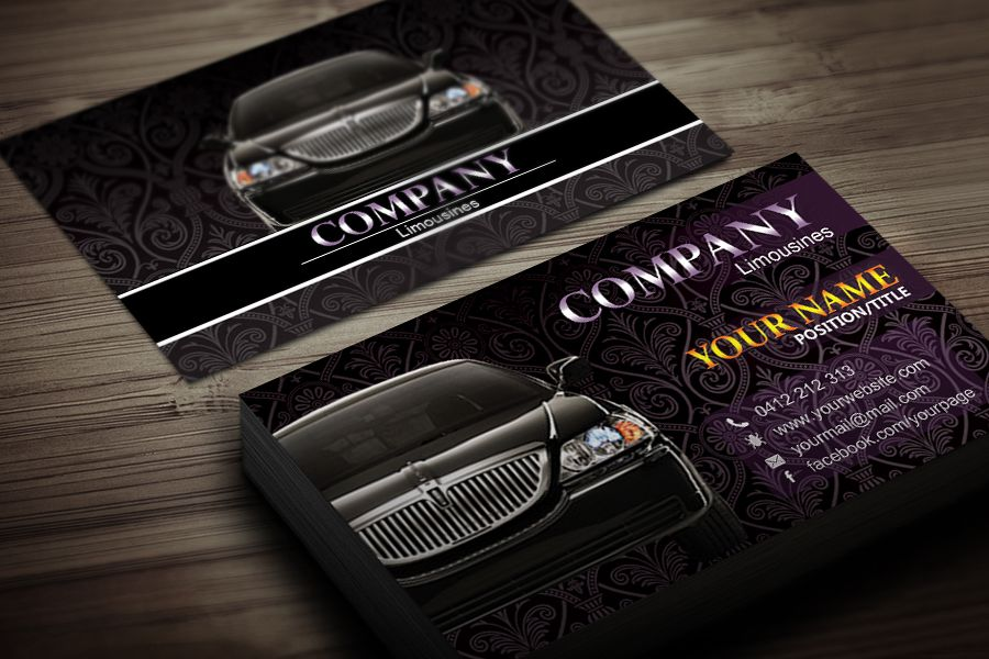 Limousine business card template black business card for Chauffeur business cards
