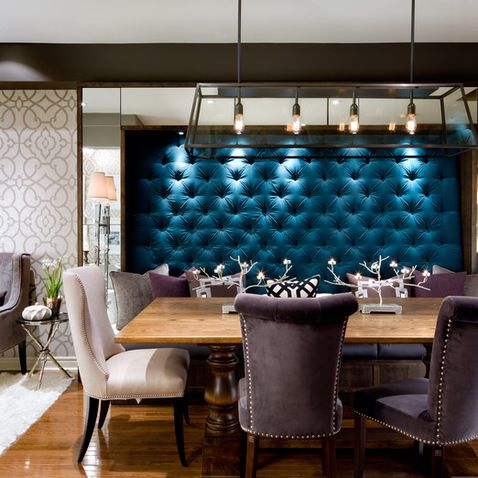 Tufted Velvet Wall For This Banquette Seating Area