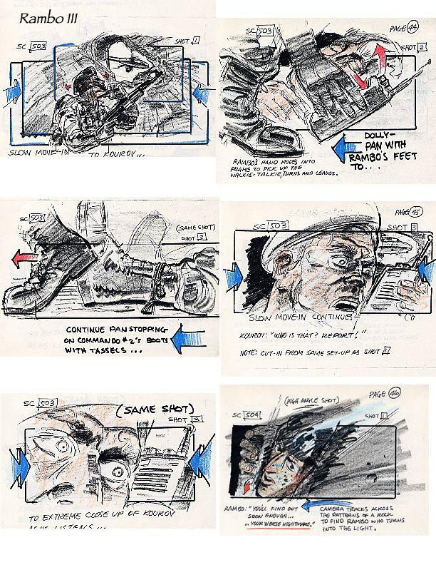 Movie Art, Storyboards, RAMBO III Movie Storyboard artist