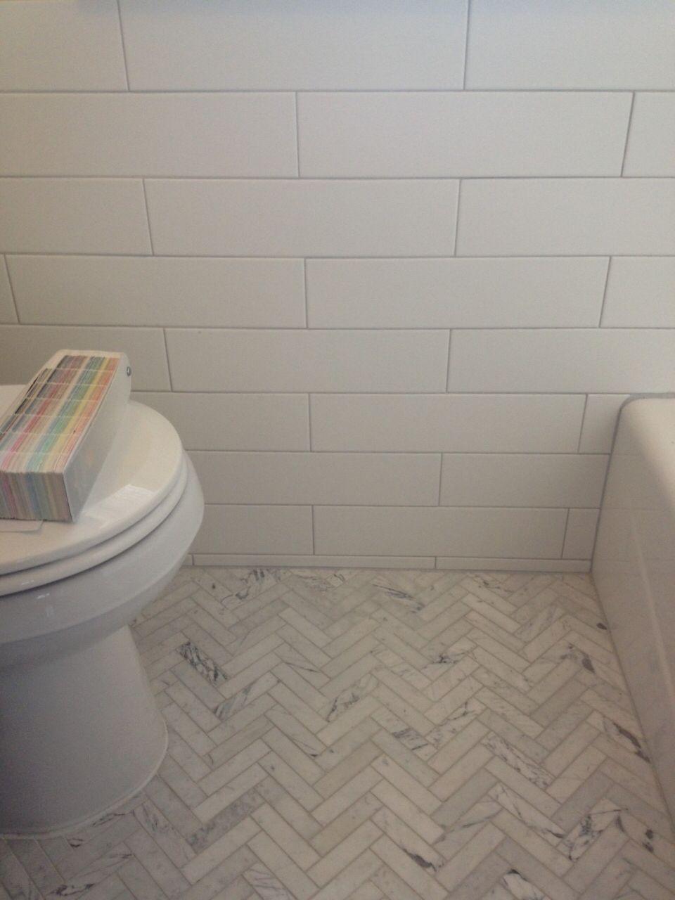 Herringbone Tile Floor And Subway Tile Walls Ceramic Tile Floor