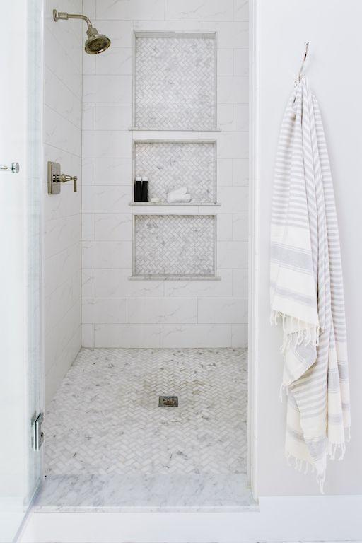 Marble Herringbone Shower Floor Tile Carried On Into The