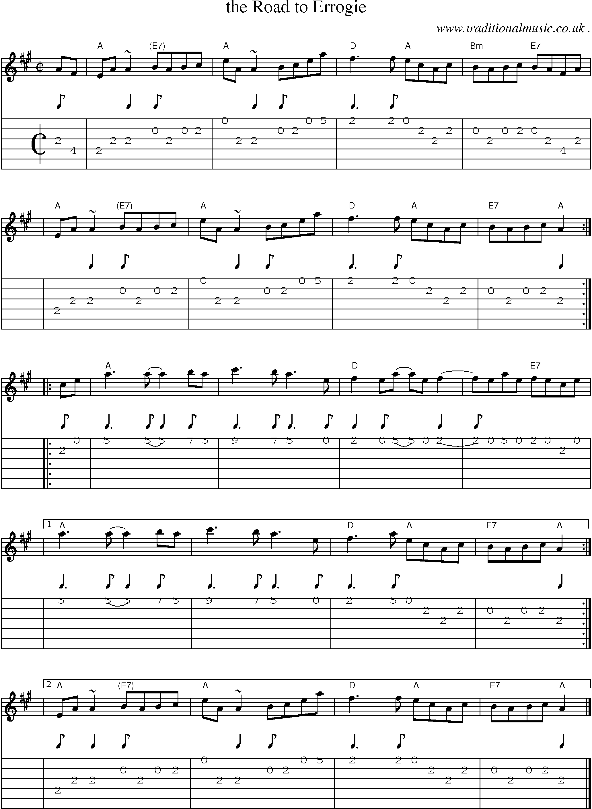 Sheet Music Score Chords And Guitar Tabs For The Road To Errogie