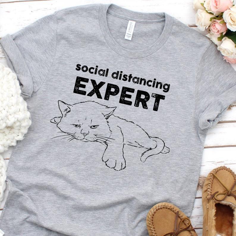 Funny Social Distancing Shirt, Antisocial Cat, Fun