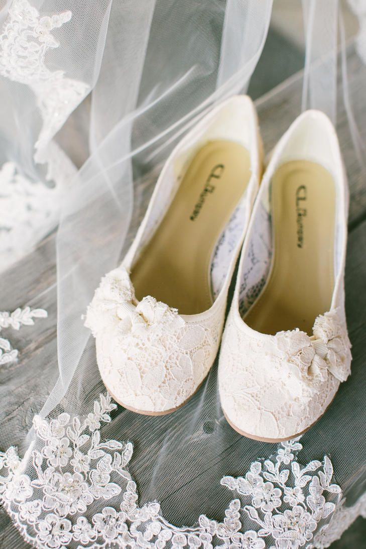 Simple ivory bridal flats Wedding Day Shoes Wedding