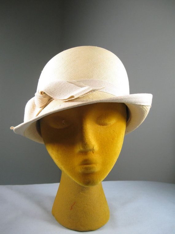 Vintage 60s Straw Woven French Room Fedora Hat Etsy Hats Woven Straw