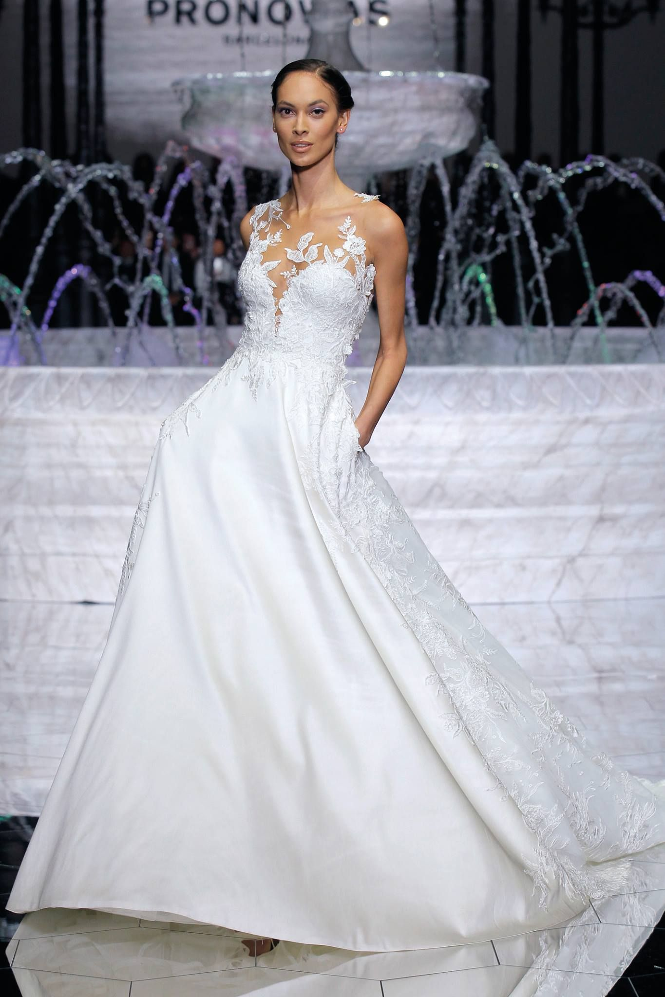 ed87dd15818 Pronovias presented their Atelier Pronovias 2018 Collection of haute couture  bridal gowns in breathtaking fashion show that closed out the annual  Barcelona ...