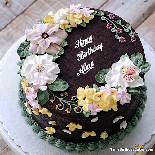 The Name Alina Is Generated On Top Pretty Birthday Cake Ideas For