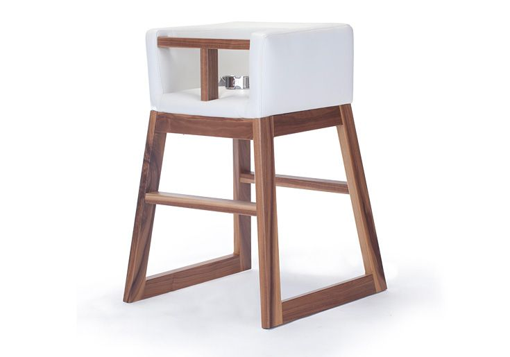 Attirant Monte Design Modern Nursery Furniture   Tavo High Chair White Bonded  Leather With Walnut Base For