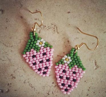 Beaded Strawberry Diy Earrings Beading Jewelry Projects Beading
