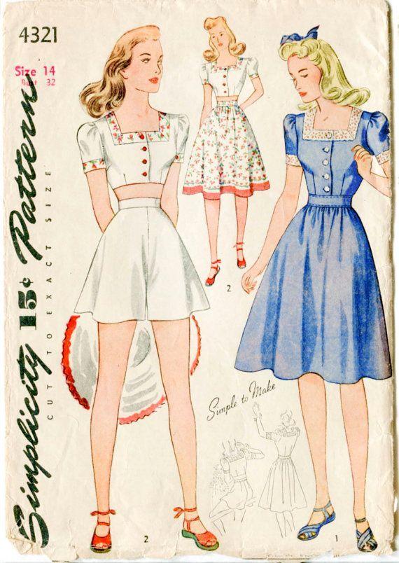 1940s 40s vintage sewing pattern crop top playsuit skirt beach ...