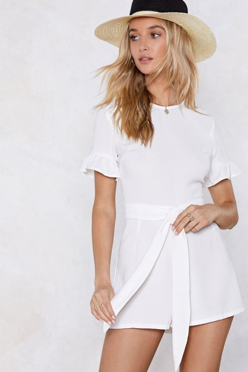 6480bb040eef Nasty gal white jumpsuit with fedora perfect for hot summer days ...