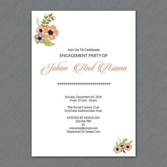 Engagement Party invitation Template DIY by WeddingTemplateStock - engagement party invites templates