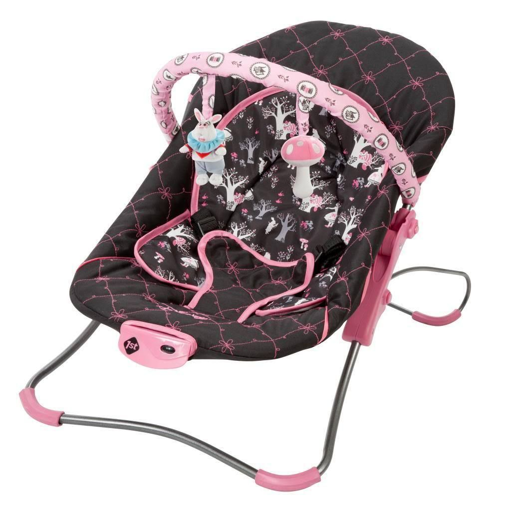 Give your baby a place to relax and play with this darling Disney bouncer. With an Alice in Wonderland design and two fun dangling toys, this bouncer is a great way to keep baby occupied and happy.