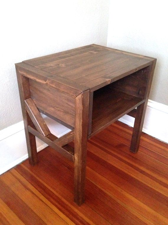 Rustic Wood Bedside Table: Wood Side Table Rustic Bedside Table Accent Table By