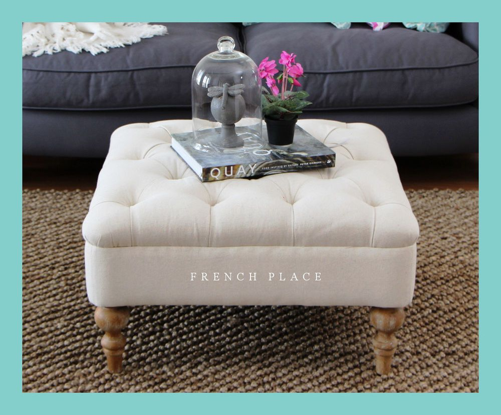 Reduced New French Provincial Oak Ottoman Footstool Tufted Beige Linen Tufted Ottoman Coffee Table Ottoman Tufted Ottoman [ 828 x 1000 Pixel ]