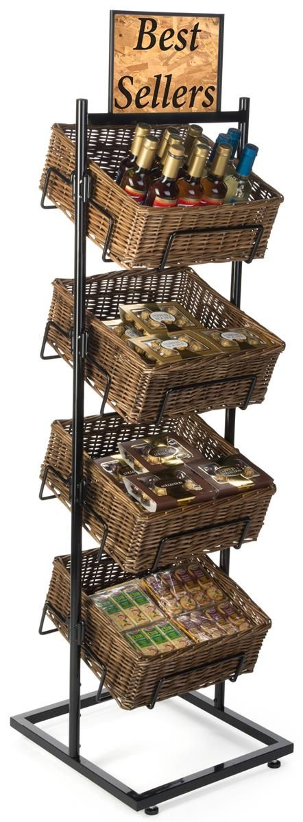 4 Tiered Basket Display Stand Brown Wicker Bins Sign Clips And