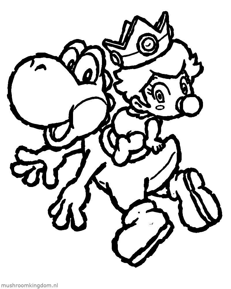 Kleurplaat Yoshi en Baby Peach - Mario-Kleurplaten.nl  Mario