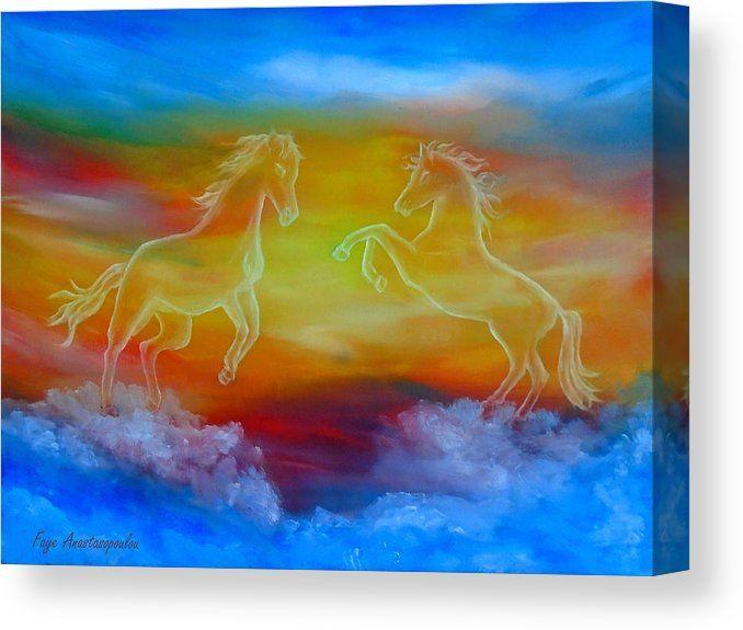 Canvas Print, horses,skyscape,scene,sky,clouds,sunset,wild,animals ...