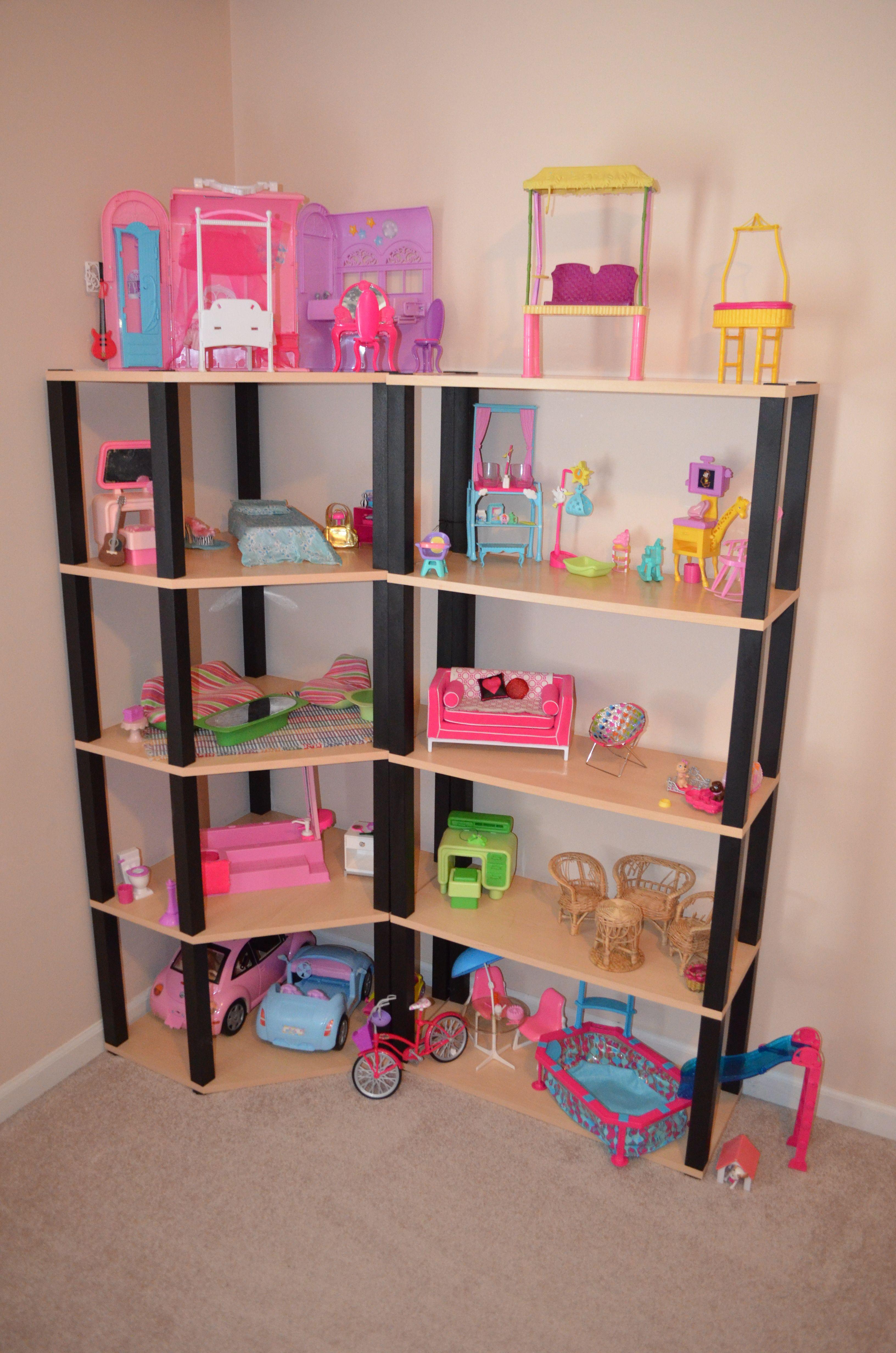 Barbie House I converted corner book shelves into a 5
