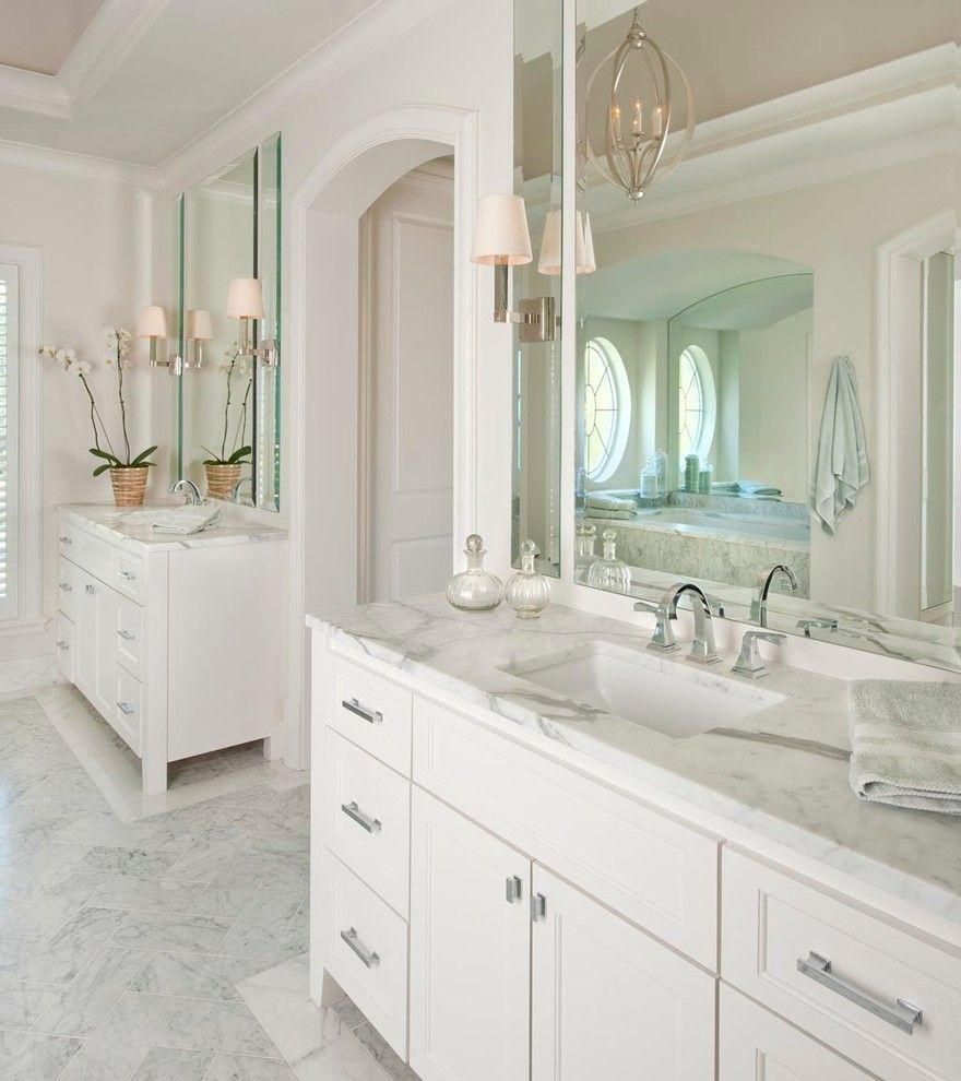 Beveled Mirror Bathroom Traditional With Bright Arched Doorway ...
