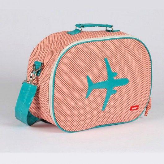 Red Canvas Aeroplane Suitcase - Medium