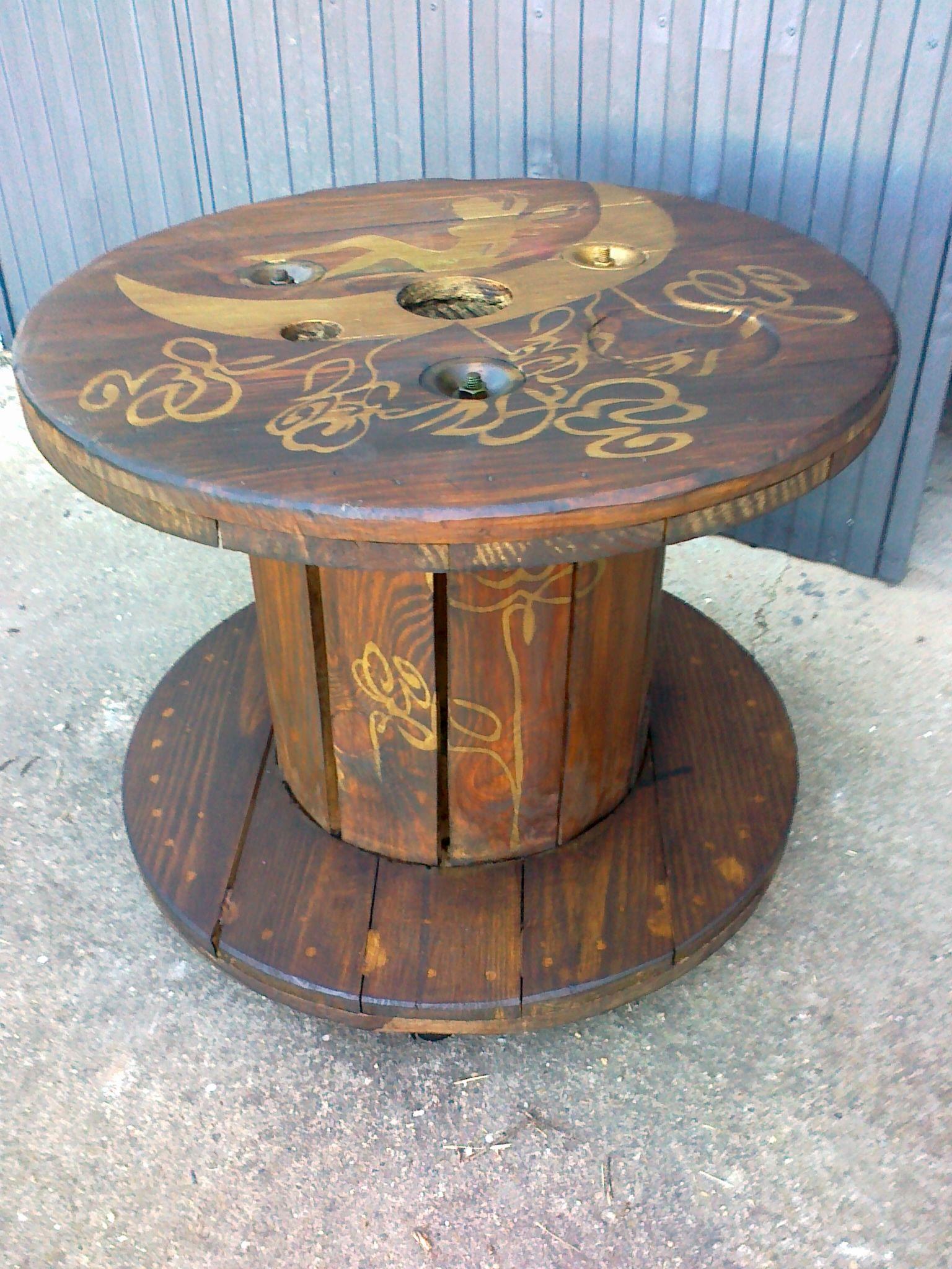 Mesa hecha con una bobina mesas recicladas pinterest - Comprar muebles con palets ...