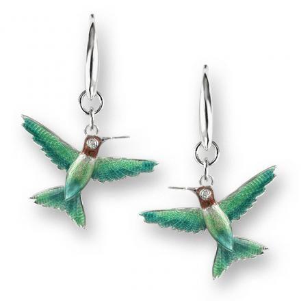 NW0277WA Vitreous Enamel on Sterling Silver Hummingbird Wire Earrings. Set with Diamonds.