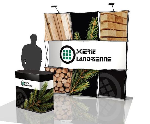 Kiosque portatif scierie landrienne ducerf stand d 39 exposition cr ation de stand et kiosque for Creation de stand