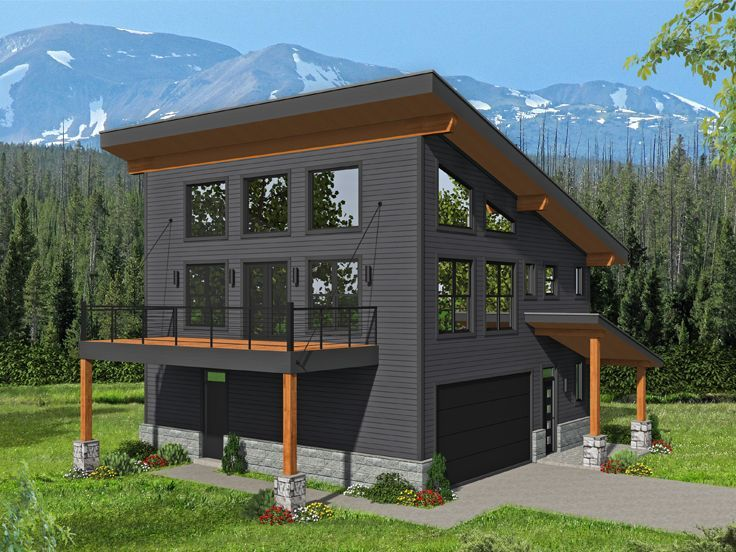 062g 0192 Modern Carriage House Plan Designed For A View Modern Style House Plans Carriage House Plans Modern House Plans