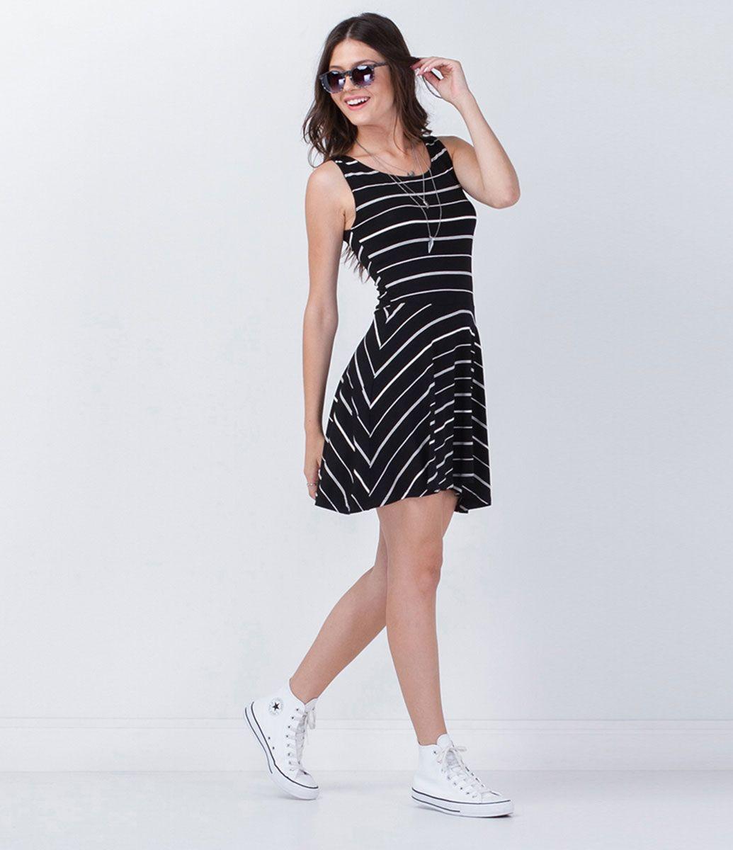 Vestido Listrado - Lojas Renner Mais 3a74a88bb8c