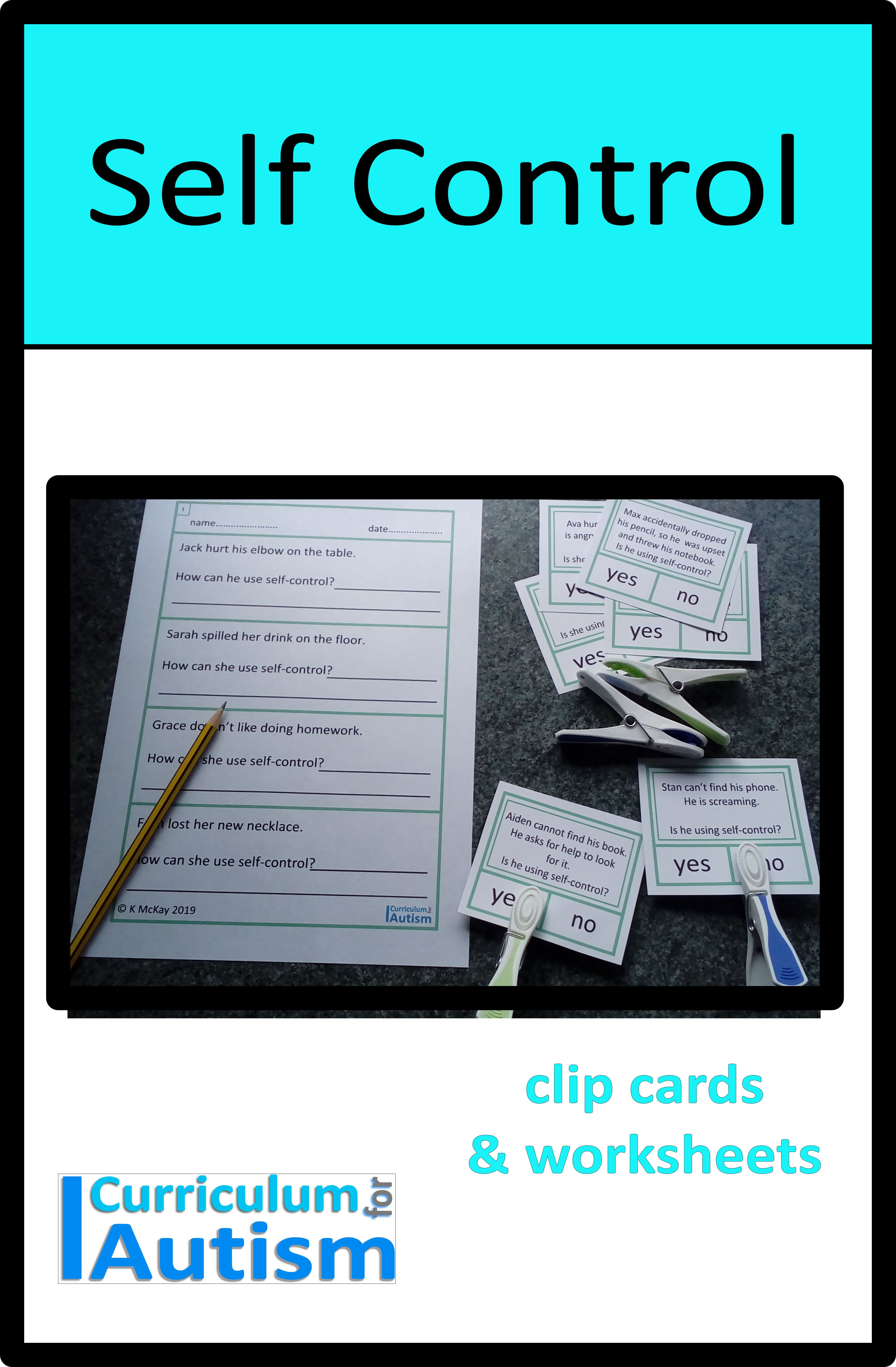 Self Control Cards Amp Worksheets