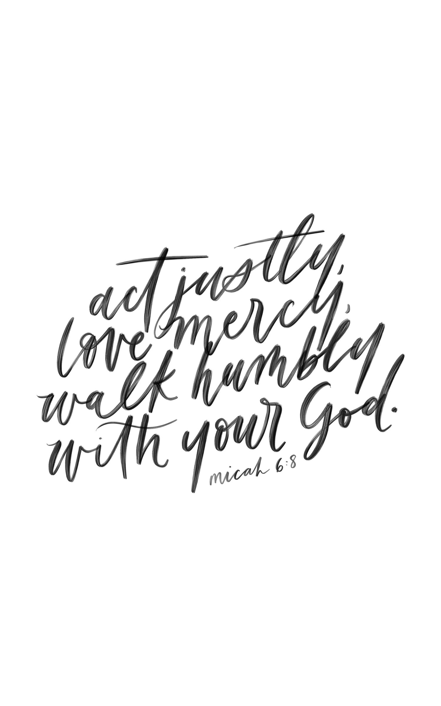 Micah 6 8 Calligraphy Quote Handlettering Bible Verse J