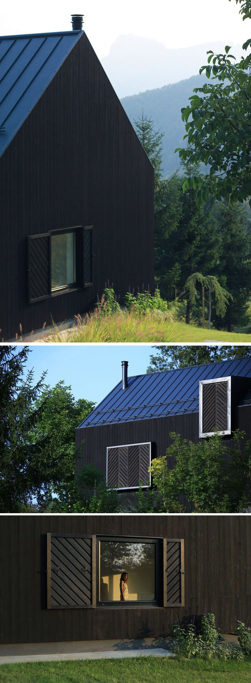 This Small Black House Sits On A Slope In The Croatian Countryside Black House Island House Architecture Exterior
