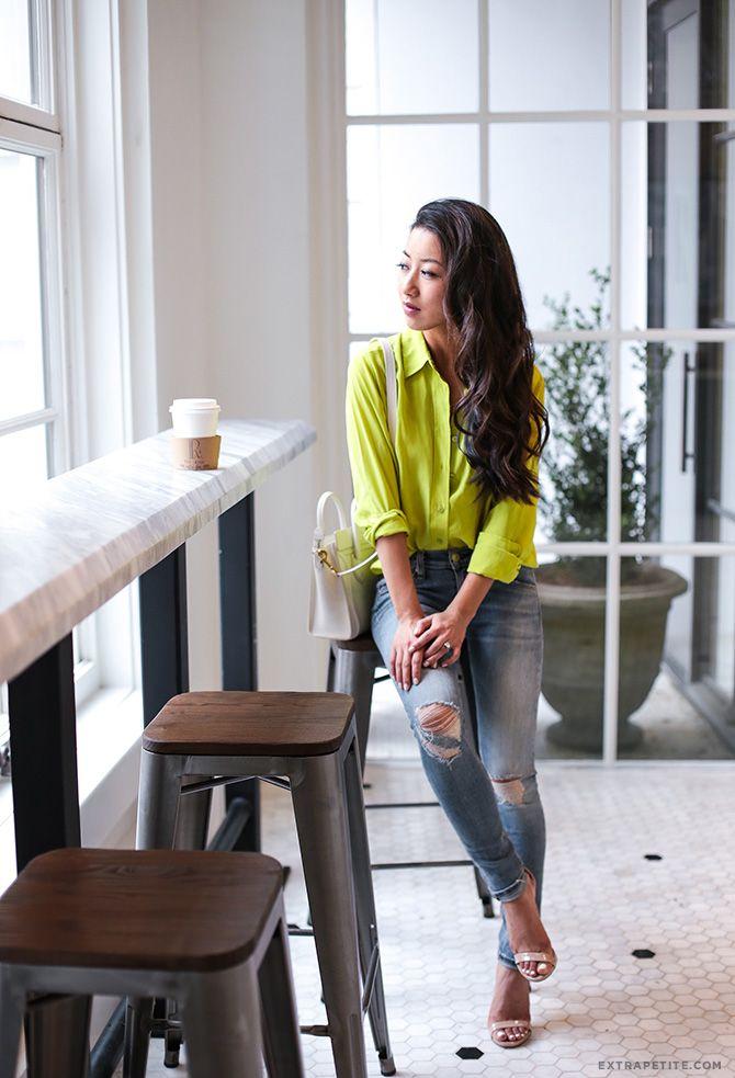 calças de brim neon equipamentos de seda blusa de pano osso moda petite