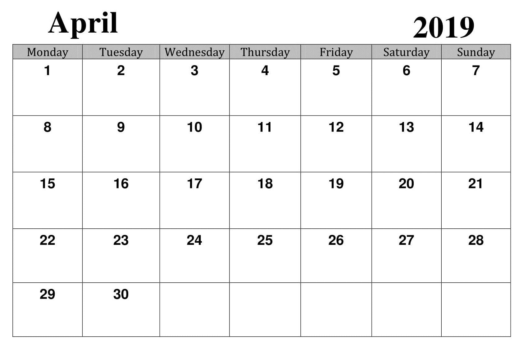 April 2019 Printable Template Calendar Calendar Printables