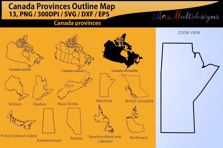 Canadian Provinces outline / SVG / EPS / PNG / Dxf