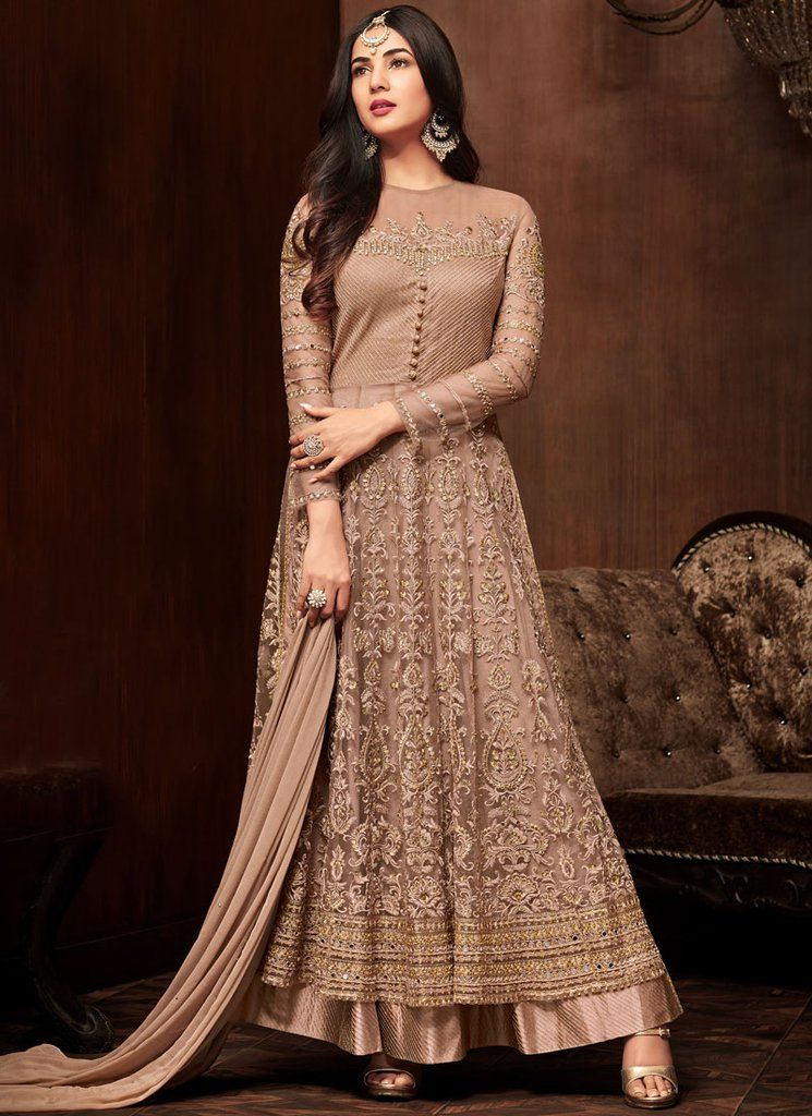 040d83414 Buy Online Designer Beige Colour Net Fabric Anarkali Suit SFS2185 in ...