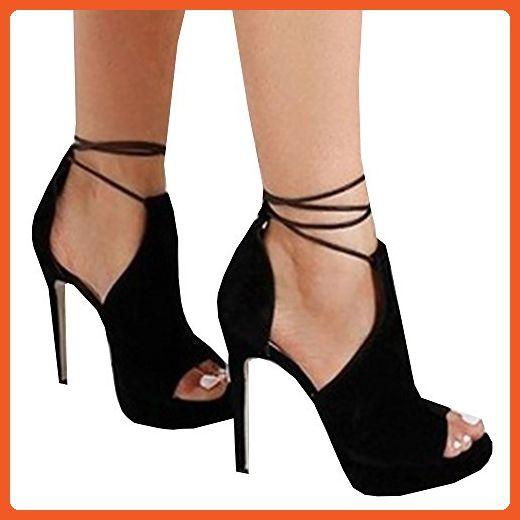 8ceab284b5edb YSkkt Women Summer Cross Tied Thin Heels Peep Toe Sandals Shoes ...