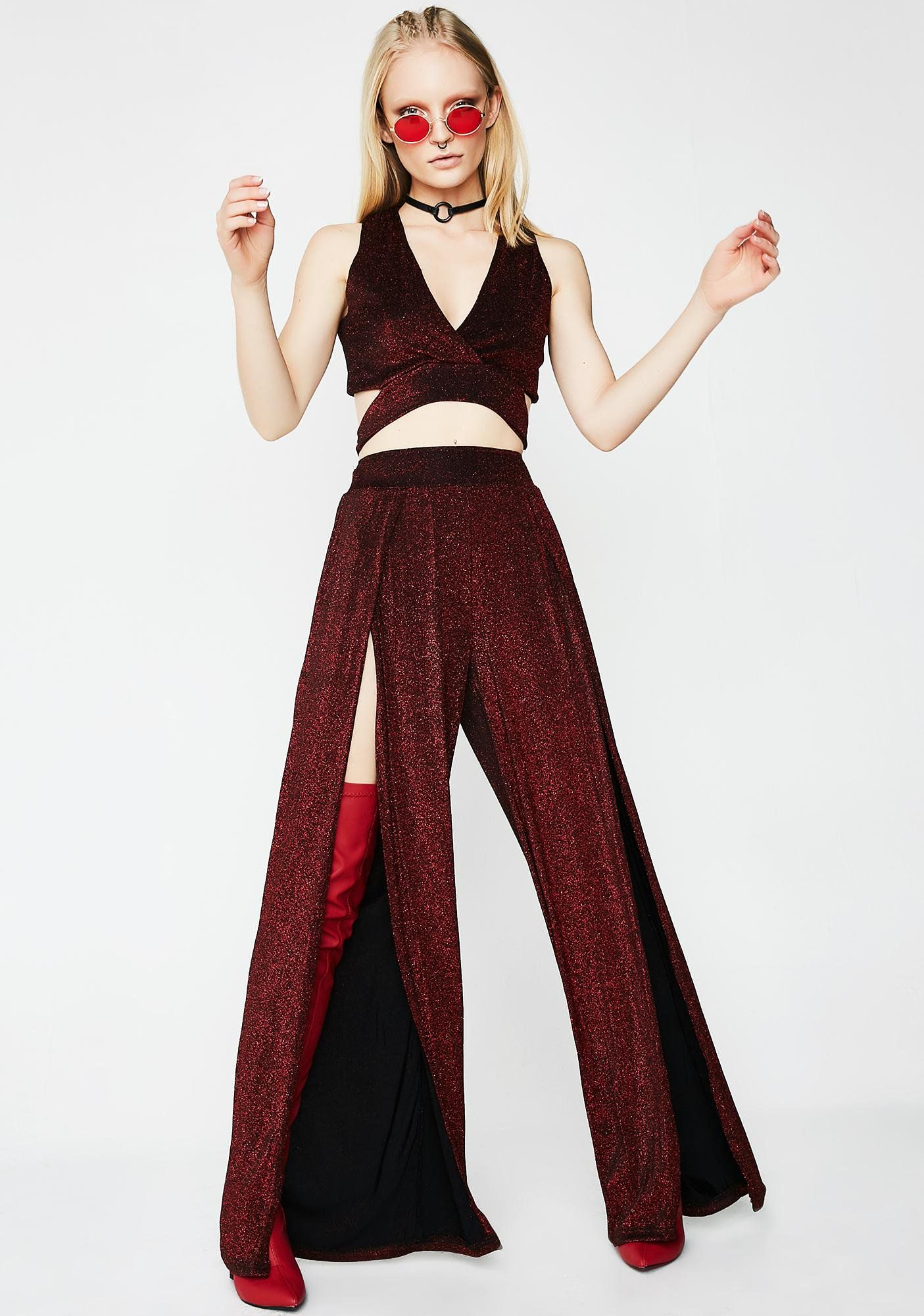 Cut you off set dark red wide leg pants and wide legs