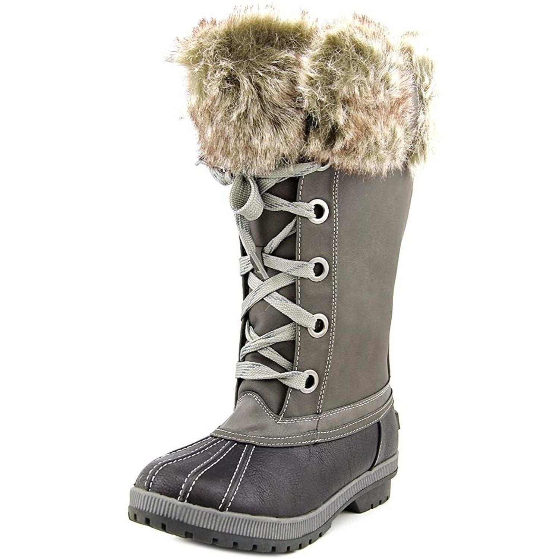 Women Round Toe Suede Gray Snow Boot