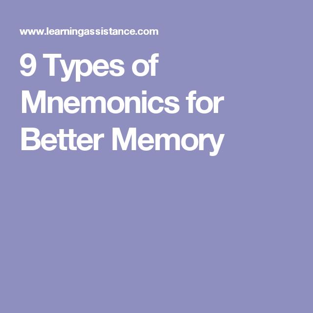 9 Types Of Mnemonics For Better Memory Mnemonics Best Memories Memories