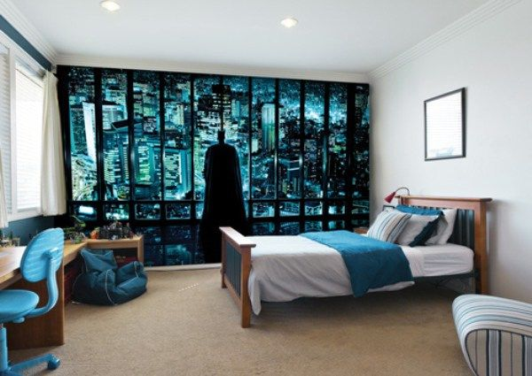 Minimalist Teenage Boy Bedroom Ideas With Batman Mural Wallpaper - Teenage boys wallpaper designs