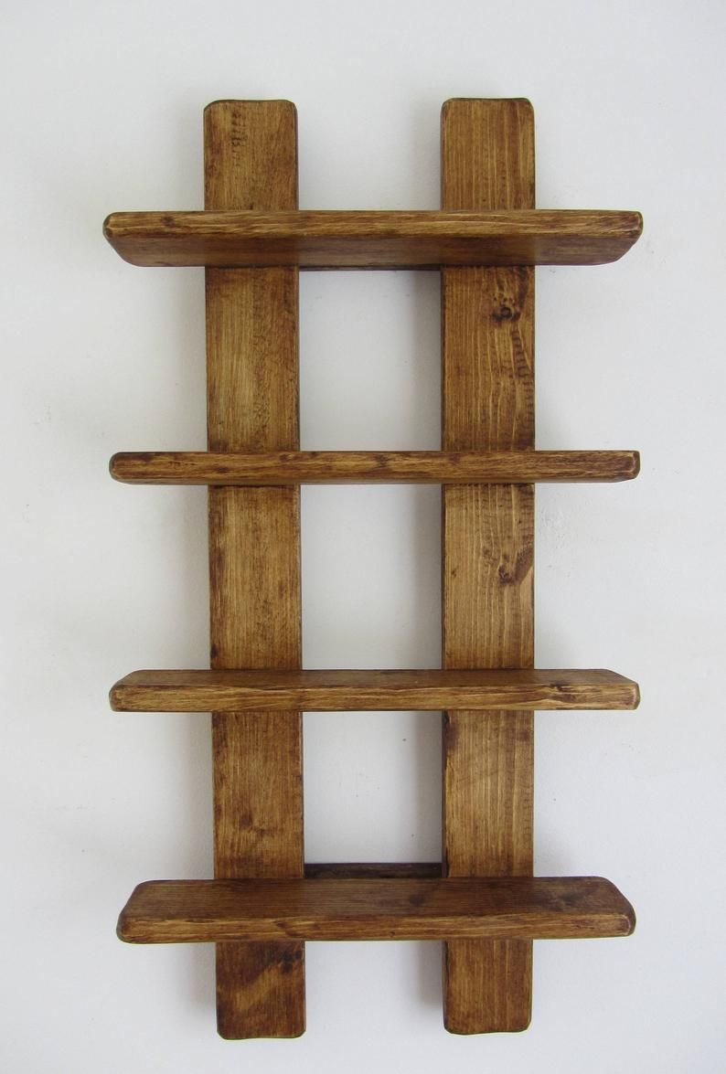 75cm tall Shabby Chic rustic reclaimed wood 4 tier floating shelf / trinket shelves / display shelves / spice rack