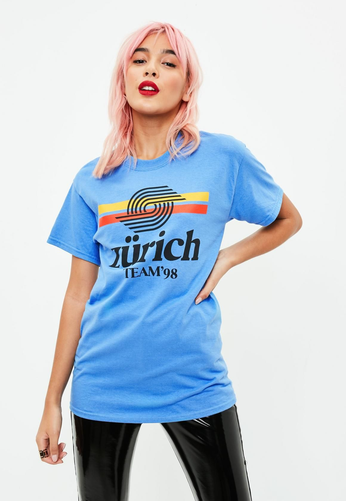 be58d3233 Missguided - Blue Zurich 98 Slogan T-Shirt | Fashion + Outfit Ideas ...