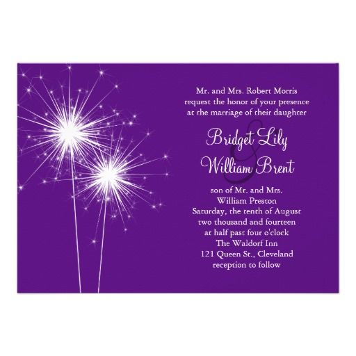 Sparkler Purple Wedding Invitation Wedding Sparklers Blue