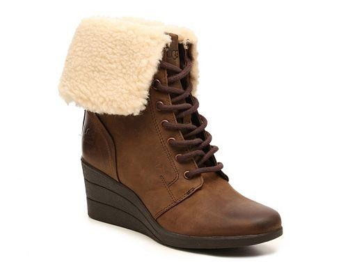 UGG Australia Zea Leather Wedge Bootie