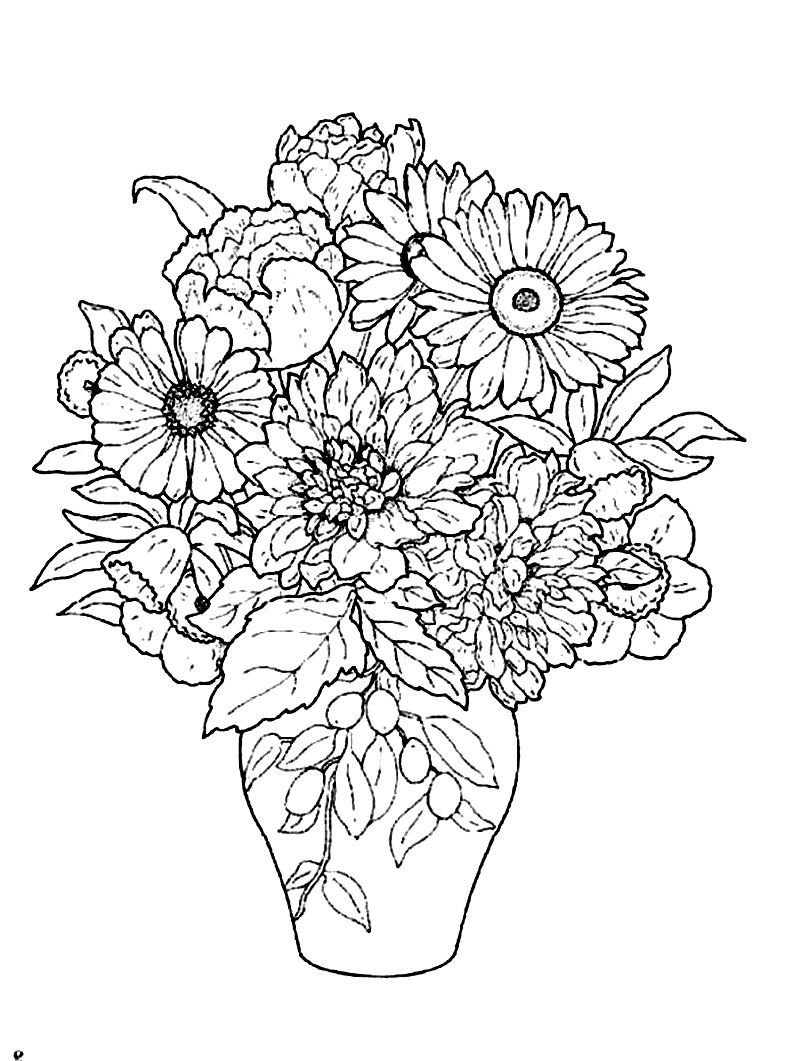 Beautiful flower vase! Flower coloring pages, Coloring pages